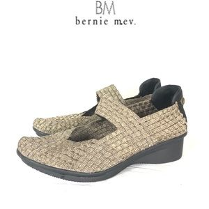 Bernie Mev. Gold woven wedge slip on shoes 9